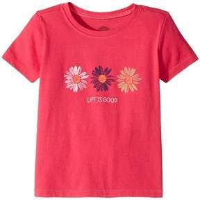 Life is Good Three Daisies Painted Crusher Tee Girl's T Shirt