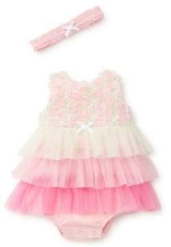 Little Me Baby Girl's Three-Piece Rosette Cotton Headband, Dress and Bloomer Set