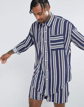 Jaded London Oversized Shirt In Navy Stripe