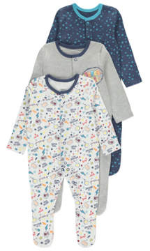 Slogan Sleepsuits 3 Pack
