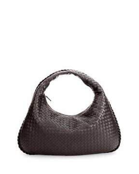 Bottega Veneta Veneta Intrecciato Large Hobo Bag, Dark Brown