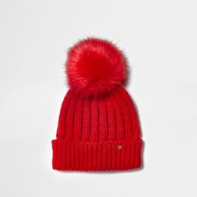 River Island Womens Red rib knit faux fur bobble beanie hat