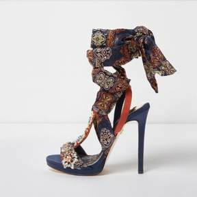 River Island Womens Navy butterfly print satin heeled sandals