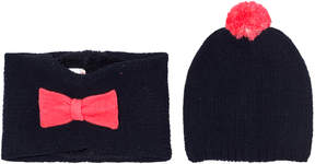 Billieblush Navy and Pink Bow Hat and Snood Set