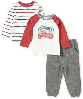 Little Me Baby Boys 12-24 Months Motorcycle Top, Striped Top, & Pants 3-Piece Set