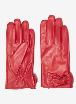 Dorothy Perkins Red Ruched Leather Knot Gloves