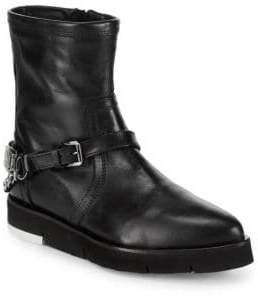 Love Moschino St. Tod Point Toe Leather Booties