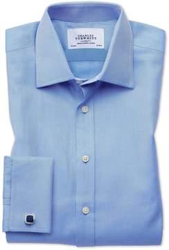 Charles Tyrwhitt Slim Fit Egyptian Cotton Cavalry Twill Blue Dress Shirt French Cuff Size 15.5/34