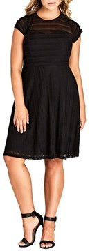 City Chic Plus Size Women's Textured Heart Dress