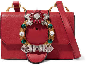Miu Miu Miu Lady Crystal-embellished Textured And Smooth-leather Shoulder Bag