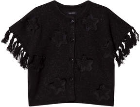 Ikks Black Star Applique Knit Glitter Poncho