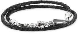 King Baby Studio Sterling Silver & Leather Double-Wrap Bracelet