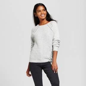 Cliche Women's Asymmetrical Lace-Up Sweater Gray