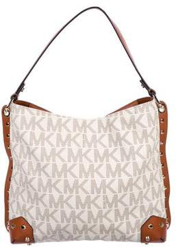 MICHAEL Michael Kors Leather-Trimmed Studded Monogram Satchel