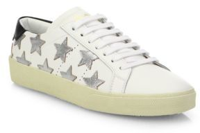 SAINT LAURENT Court Classic Metallic Star Leather Sneakers