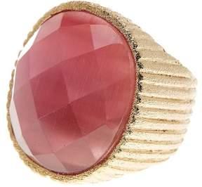 Rivka Friedman Faceted Raspberry Cat's Eye Crystal Satin Ring