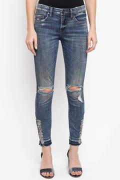 Blank Skinny Jeans With Gem Hems