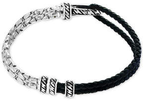 Effy Men's Black Leather Hinged Bracelet in Sterling Silver