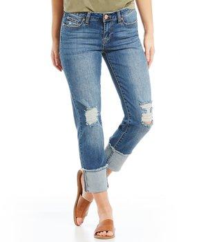 Celebrity Pink Destructed Mega Cuff Straight-Leg Ankle Jeans
