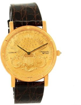 Corum 20 Dollars Coin 18K Yellow Gold & Leather Automatic 36mm Mens Watch
