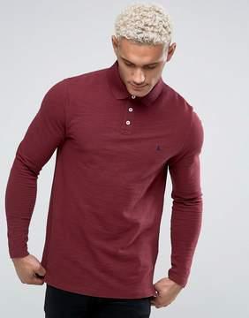 Jack Wills Staplecross Long Sleeve Slub Polo Shirt In Damson