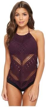 Bleu Rod Beattie Crochet Ole Fly Away High Neck Crochet Tankini Women's Swimwear