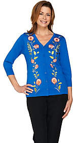 Bob Mackie Bob Mackie's Embroidered Button Front SweaterKnit Cardigan
