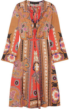 Etro Printed Wool Midi Dress - Orange