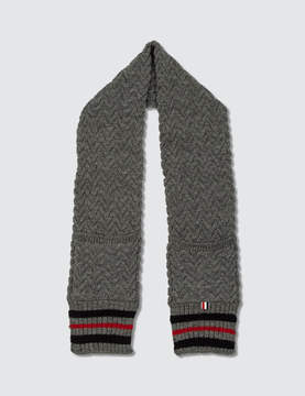 Thom Browne British Wool Pocket Scarf with Chevron Cable and RWB Cricket Stripe