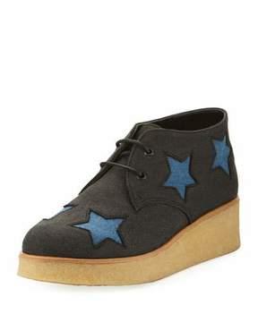 Stella McCartney Wendy Star-Patched Denim Platform Sneaker, Sizes 10T-5Y