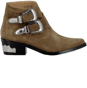 Toga Pulla Kakhi Suede Ankle Boots