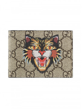 Gucci Angry Cat print GG Supreme wallet