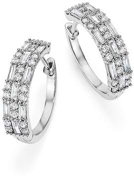 Bloomingdale's Diamond Round and Baguette Hoop Earrings in 14K White Gold, 1.50 ct. t.w. - 100% Exclusive