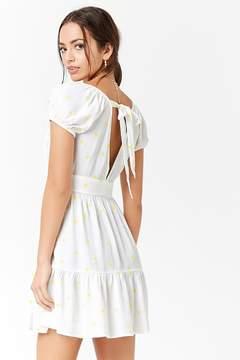 Forever 21 Embroidered Flower Tie-Back Dress