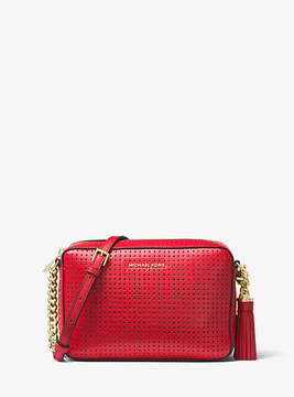 Michael Kors Ginny Perforated Leather Crossbody - RED - STYLE