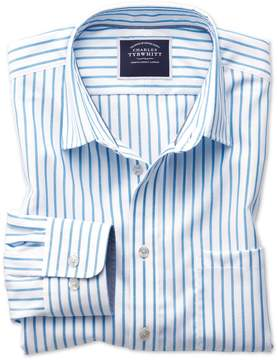 Charles Tyrwhitt Classic Fit Non-Iron Oxford White and Blue Stripe Cotton Casual Shirt Single Cuff Size Medium