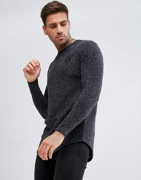 SikSilk Knitted Long Sleeve T-Shirt In Black