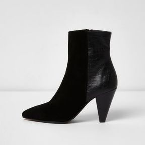 River Island Womens Black suede cone heel ankle boots
