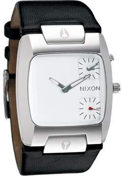 Nixon Dual Time White Dial Black Leather Mens Watch A086-100