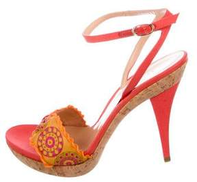 Sergio Rossi Embroidered Ankle-Strap Sandals