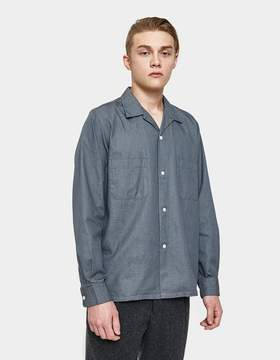 Beams Open Collar Denim Shirt in Grey