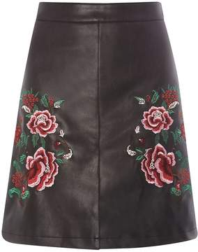 Dorothy Perkins **Tall Black Floral Embroidered Faux Leather Mini Skirt