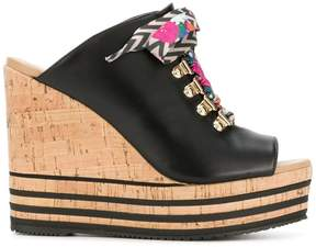 Hogan lace-up wedge mules
