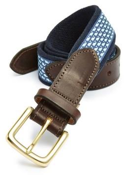 Vineyard Vines Men's Whale Club Leather & Canvas Belt