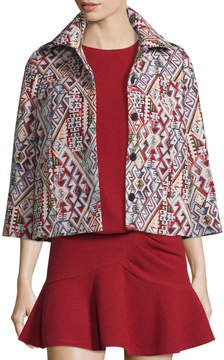 BA&SH Blush Geometric-Pattern 3/4-Sleeve Jacket