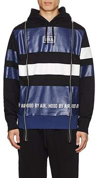 Hood by Air MEN'S LOGO STRIPED COTTON TERRY HOODIE
