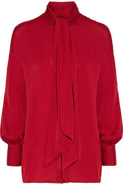 By Malene Birger Simmy Silk-blend Pussy-bow Blouse - Claret