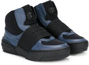 Young Versace logo hi-top sneakers