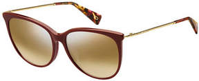 Marc Jacobs Mirrored Oval Acetate Sunglasses w/ Metal Twist Arms