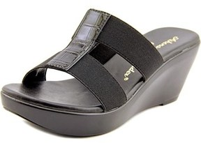 Callisto Ali Women Open Toe Canvas Black Wedge Sandal.